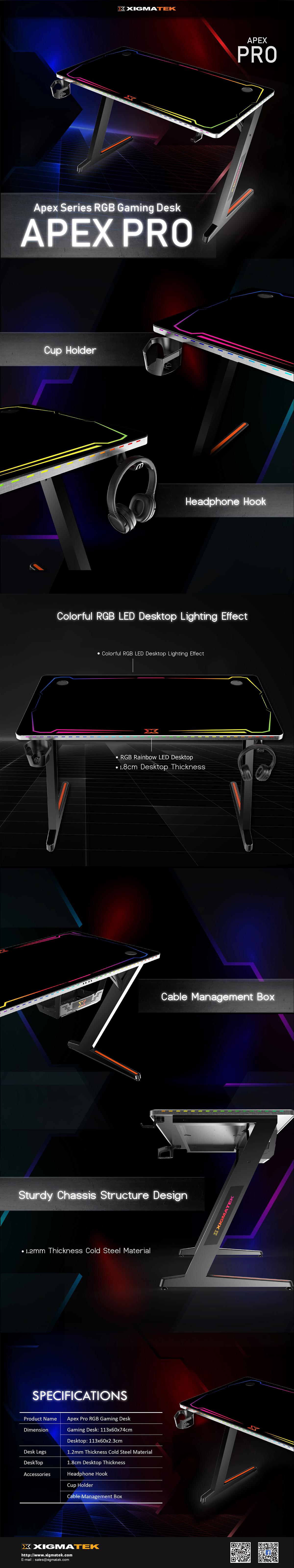 Xigmatek Apex Series RGB Gaming Desk APEX PRO - EN46836 4