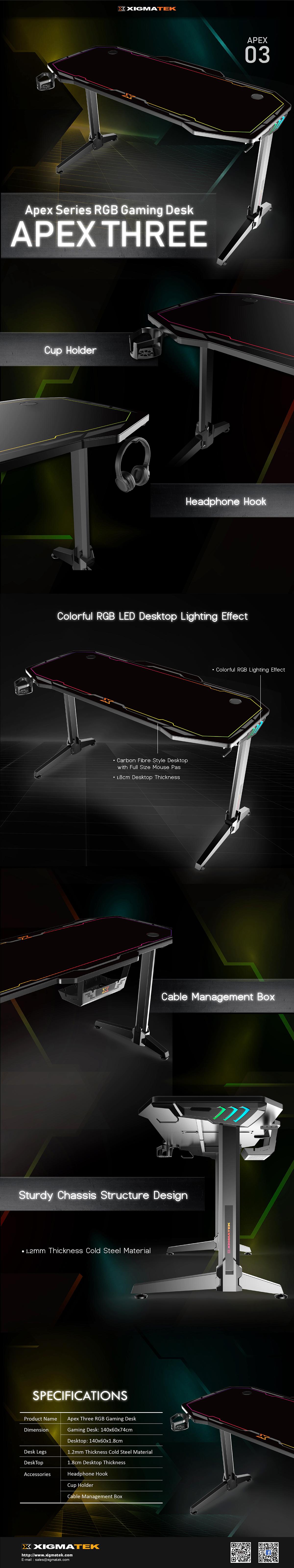 Xigmatek Apex Series RGB Gaming Desk APEX THREE - EN46867 4
