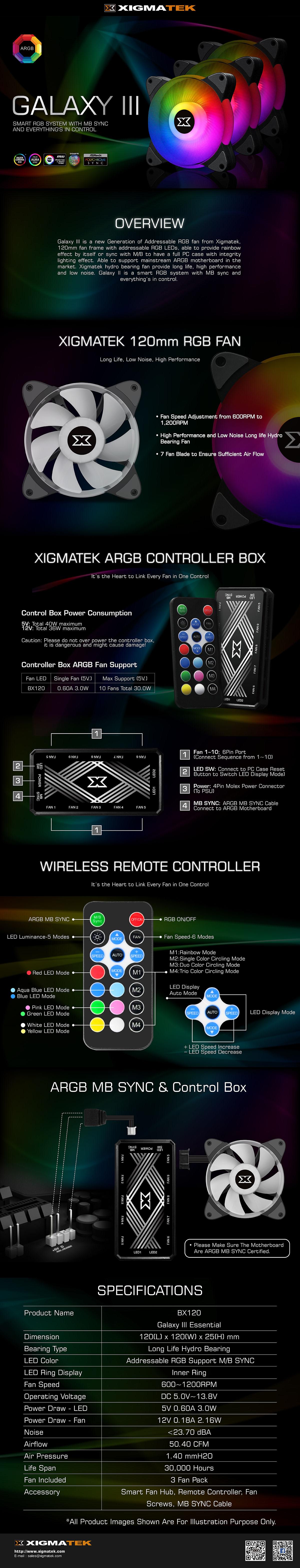 Xigmatek Galaxy III Essential ARGB Case Fans - EN45433 14