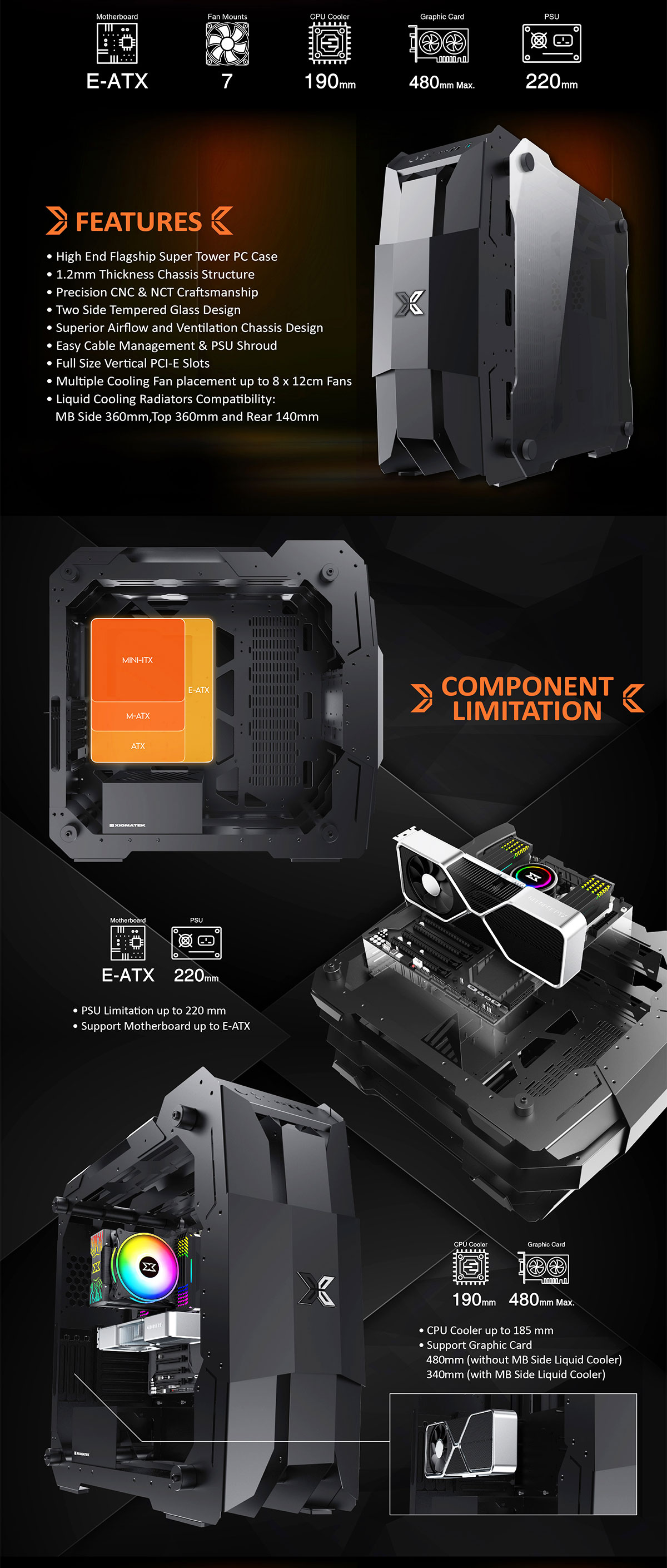Xigmatek X7 Super Tower E-ATX Gaming Case - EN46218 14